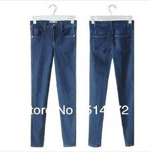 Women close-fitting high waist water washing slim elastic pencil jeans denim pants free shipping