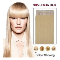 "613# lightest blonde/Bleach Blonde  20 pcs per pack Tape Hair Extensions 16""18""20""22""24"" Straight human hair"