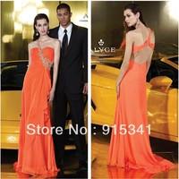Fashionable Slim A-line One Shoulder Chiffon Backless Bright Orange Prom Dresses