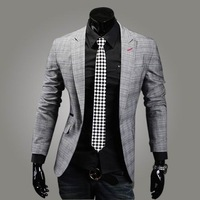 Classic plaid 100% cotton slim blazer formal dress single breasted suit x10.75