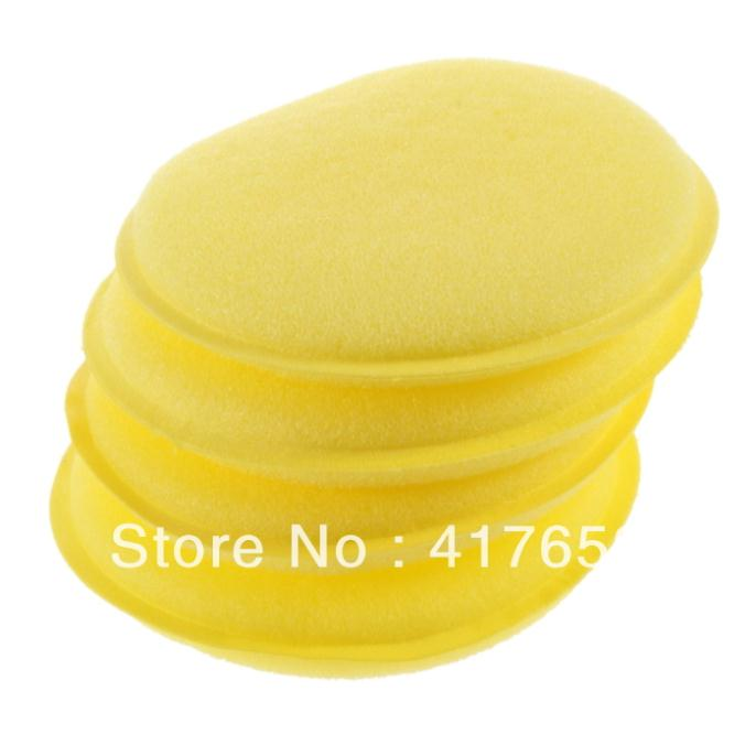 New12pcs/Lot Soft Polish Wax Foam Sponges Pad Yellow for Clean Car Vehicle Glasses free shipping(China (Mainland))