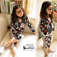 E children&#39;s baby clothing spring 2013 female child velvet set child sports set