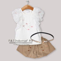 2013 New Designer Baby Girls Clothing Set Lace T Shirt And Pants Fashion Infant Wear Kids Clothes Free Shipping CS30301-31^^EI