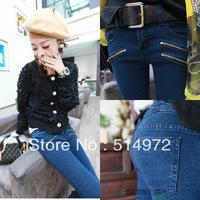 Best selling!!women's denim pants ladies' zipper decorate jeans  female trousers free shipping