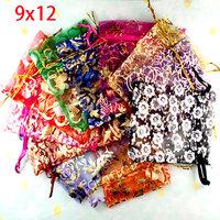 100 Random Mixed Bronzing Drawable Organza Wedding Gift Bags&Pouches 12x9cm