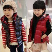 5pcs/lot baby children's patent leather cotton vest fashion thick outwear vests TZ0039
