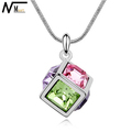 MT JEWELRY Gift For Girls Jewelry Austrian Crystal Square Pendant FREE SHIPPING