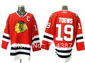 #19 Jonathan Toews Men's Authentic Road White Hockey Jersey Free shipping(China (Mainland))