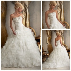 2013 New Design Ivory Organza Ball Gown Layers Skirt Bride Wedding Dress(China (Mainland))