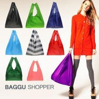 H1368 Candy color Japan BAGGU square pocket Shopping bag  Nylon Foladable Shopper FREE SHIPPING DROP SHIPPING WHOLESALE