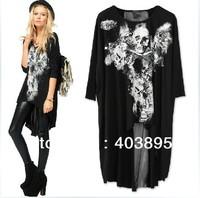(Black&White)Fashion Loose Ladies Bottoming Shirt Big Round Collar Skeleton Elegant Chiffon T-shirt For Women,Free Shipping