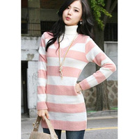 Pink women's sweater khaki autumn and winter deep v neck stripe pure women's fashion cotton-padded coat