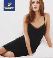 Free Shipping Tcm Women black modal sleepwear spaghetti strap nightgown summer sexy lace plus size thin robe