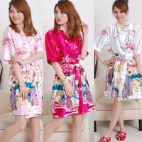 Free Shipping Women's short-sleeve sleepwear bathrobes robe spaghetti strap nightgown faux silk twinset summer thin lounge