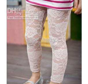 Fashion Baby Girls Footless Tights Toddlers White Black Lace Leggings 5176(China (Mainland))
