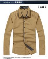 free shipping 2013 fashion Men's spring long sleeve khaki slim casual shirt, 100% cotton shirt. 3 colors option