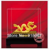 YZ-RL091 24K gold craft/ Gold Handicraft/corporate gift/Gold Finished Asian Oriental Dragon 24K Gold Figurine on Plinth