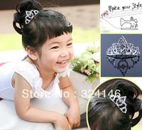 ree shipping 10pcs/lot shiny silver crystal shiny charming children birthady tiara special Crown Princess crown headwear