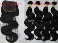 "1 Pcs Lace Top Closure with 4pcs Hair Bundle,5pcs/lot,Body wave Brazilian Virgin wavy Hair Extensions,12""-28"" dhl Free shipping"