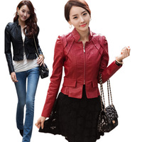 Free Shipping  Plus Size  ladies' Puff Sleeve Short PU Slim Leather Clothing  Motorcycle jacket 2014Spring New Korean