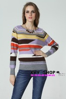2012 o-neck cashmere knitted sweater irregular stripe vivi vintage sweater