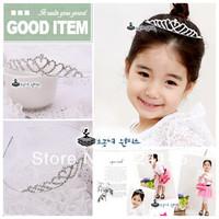 ree shipping 6pcs/lot shiny silver crystal charming children tiara nice hairbands Crown Princess headwear
