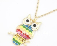 Fashion lovely vintage Colorful Cute OWL necklace , 24pcs/lot,free shipping
