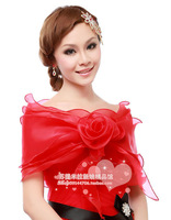 Rose red yarn cape - bride wedding formal dress cape red white 0214