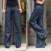 Free shipping women jeans,female pants,wide leg casual jeans loose  plus size  women's trousers#E066