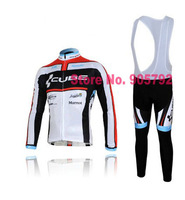 Free Shipping, white cube Winter Thermal Fleeced Cycling Wear 352WS : Winter Thermal Cycling Jersey +Winter Cycling Bib Pants