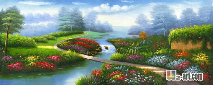 Canvas Prints by Thomas Kinkade oil painting landscape thomas kinkade canvas print for living room 120X50CM(China (Mainland))