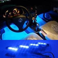 New! 4x 3LED Blue Interior lamp light foot light car decorative 4in1 12V LED lights