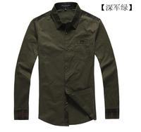 free shipping 2013 fashion Men's spring long sleeve khaki / amy green / gray color shirt, 100% cotton shirt.