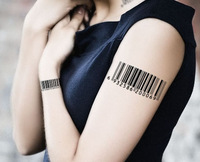Diy tattoo sticker waterproof barcode