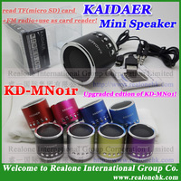 Free shipping speaker KAIDAER KD-MN01r, MN01 updated mini speaker read TF card+FM+use as TF card reader portable gift speaker
