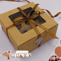 High Quality 35pcs/lot 16x16x7.5cm Hold 4 cupcakes PVC Window with insert, Cupcake Cake Boxes, Cake packaging bags kraftpaper
