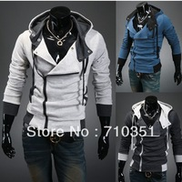 Free Shipping Fashion Men's Hooded Sweatshirts Slim Long sleeve Hoodies Casual Hoody Coat Grey;Dark grey;blue color