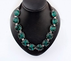 Fashion trend Green rhinestone all-match short necklace temperament street Hot promotion !!!!!Free shipping Min.order $15(China (Mainland))