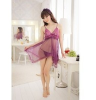 Sexy lingerie transparent women's milk open file lace decoration  uniform sleep set free shipping