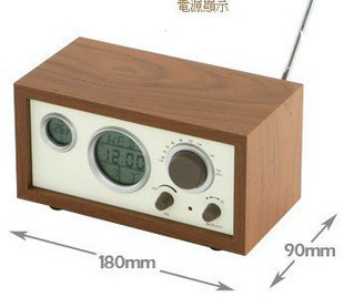 Magno wooden radio small wood grain fashion vintage table clock radio alarm clock function(China (Mainland))