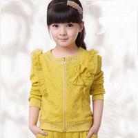 Children's clothing female child autumn 2013 100% cotton lotus leaf laciness rhinestones bow casual sports set