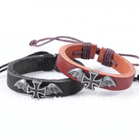 Free Shipping 5Pcs/Lot Fashion Batman Cross Leather Bracelets Antique Bangles Black/Brown