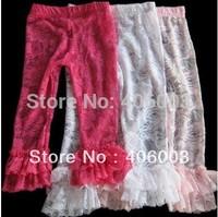 Wholesale baby girls lace ruffle legging  60pcs /lot  by ems free shipping