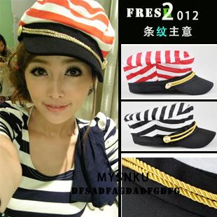 Chapéu da marinha do vintage cap casuais chapéu do marinheiro grandes tarja mulheres estilo navy(China (Mainland))