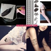 Tattoo stickers waterproof Women fashion sexy kitten feather rose lace zipper bow