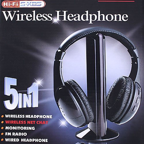 5 in 1 HIFI Wireless headphone Earphone Headset wireless Monitor FM radio for MP4 PC TV audio,free shipping wholesale(China (Mainland))