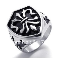 Free shipping US Size (8#--12#) Men's ring fleur de lis warrior medal royal knight badge jewelry stainless steel