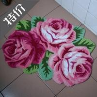 free ship Flower shaped rug doormat  handmade embroidery carpet roses for sale,slip-resistant floral carpet,bedroom mat ,80*60cm