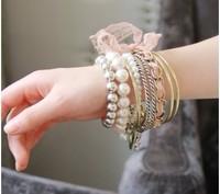 4010 fashion vintage flower heart multi-element bracelet flies so bracelet