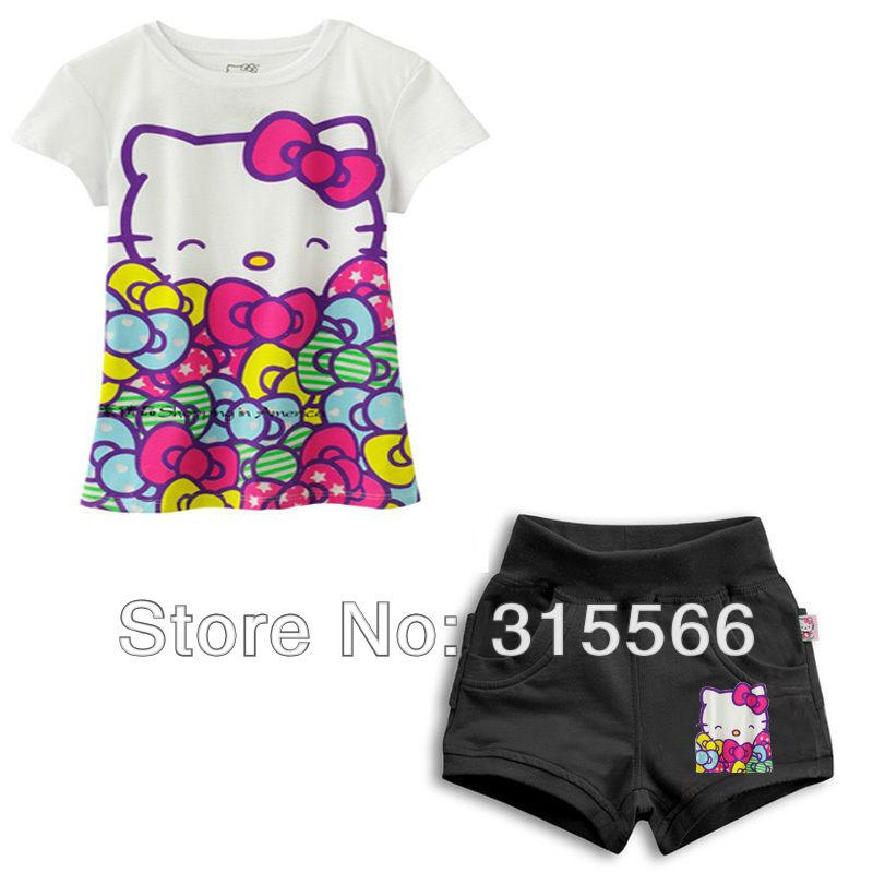 free shipping children's clothing 1pcs/lot girls cartoon clothes cotton short sleeve t-shirt+pants hello kitty clothes(China (Mainland))